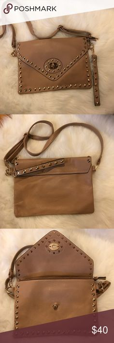 Italian purse Real Italian leather, beige with gold studs. Never used Bags Crossbody Bags