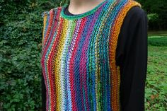 Handmade bright and colourful striped women vest / sweater without sleeves by TASSSHA on Etsy