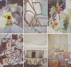 A Colorful Handmade Wedding: Cerissa + Chad Vintage Rentals by Ribbons & Rust www.ribbonsandrust.com