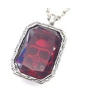 Trapped Skull Treasure Crystal Necklace-Red