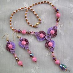 Micro Macrame SET - Fans Necklace and Earrings - Pink Purple Brown | KnotGypsyDesigns - Jewelry on ArtFire