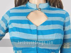Front neck collar with button simple blouse design for individual look