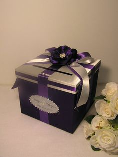 Silver and Purple Wedding Money Box Card Box Gift by bwithustudio
