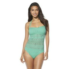 Mossimo® Women's Crochet Swimsuit -Isle Green