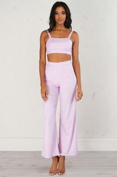 Hey Lover Wide Leg Pant In Lilac (Get the Look at www.shopakira.com) #shopAKIRA #sets #cuteoutfits #twopiece #twopiecesets #pants #bottoms #lilac