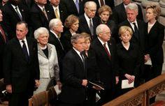 Bush, Carter, Ford, Clinton, and Bush at Ronald Reagan's funeral