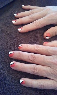 "Manicure for my mom on Mother's Day! Used Zoya ""Maya"", Ulta ""Snow White"" and a black striping polish."