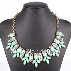 Wholesale Beads Wholesale Free Ship - Buy MN338 Fashion Statement Necklace Bib Necklace Gold Chian Mint Green/Orange/Red/Sky Blue Color Resin Beads New $11.88 | DHgate