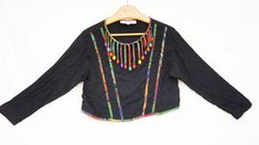 Vintage 90s Cropped Beaded Fringe Top Blouse by by SycamoreVintage