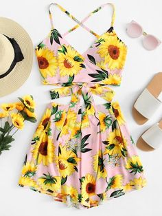 Shop Floral Print Knot Cami Top And Short Co-Ord online. ROMWE offers Floral Print Knot Cami Top And Short Co-Ord & more to fit your fashionable needs. Teenage Outfits, Cute Girl Outfits, Teen Fashion Outfits, Cute Summer Outfits, Mode Outfits, Cute Casual Outfits, Outfits For Teens, Girl Fashion, Womens Fashion