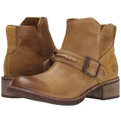 Pre-owned Timberland Chelsea Wheat Boots ($155) ❤ liked on Polyvore featuring shoes, boots, ankle booties, wheat, stacked heel booties, slip on boots, leather boots, timberland boots and mid heel booties