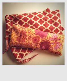 Flannel eye pillows (microwaveable; filled with rice) with storage bag