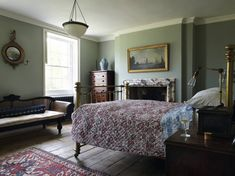 Teal Blue Bedroom in Country Bedroom Ideas, traditional bedroom with wooden floors, marble fireplace, quilted bedcover and brass bed. Bedroom Green, White Bedroom, Bedroom Decor, Bedroom Ideas, Bedroom Inspiration, Victorian Bedroom, Bedroom Vintage, Antique Bedrooms, Victorian House