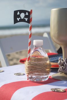 Cute Drink idea from a Seaside Pirate Themed Birthday Party via Kara's Party Ideas KarasPartyIdeas.com (4)