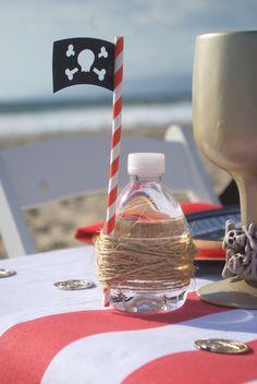 Cute Drink idea from a Seaside Pirate Themed Birthday Party via Kara's Party Ideas KarasPartyIdeas.com (4)