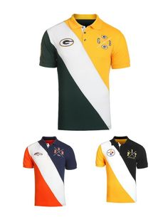 7cb78051e NFL Football Team Logo Rugby Polo Diagonal Collared Shirt - Pick Your Team!   KLEW