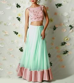 Blush Pink & Mint Green Viscose Georgette & Net Lehenga Set With Bead Embroidery