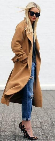 Classic denim and printed heels are the perfect pair for a camel coat.