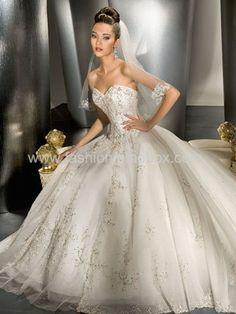 Ball Gown Sweetheart Chapel Train Satin & Organza Bridal Gown