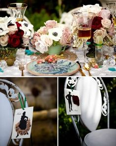 Spanish Themed Vintage Dinner Patio Party - Kara's Party Ideas - The Place for All Things Party table settings, pink roses, vintage weddings, color, spanish wedding, pale pink, dinner parties, flower, themed parties