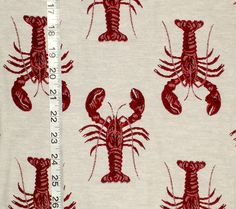 Nautical Fabric: Lobster fabric dark red  reversible upholstery