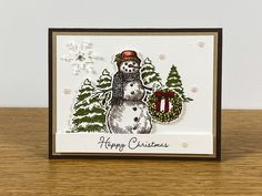 Stampin Up Christmas, Christmas Cards To Make, Christmas 2017, Holiday Cards, Snowman Cards, Beautiful Christmas Cards, Winter Cards, Stamping Up, Homemade Cards