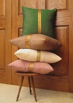 jamaligarden sari border pillows, $20.00.... Perfect pop of color for that white sofa! :D