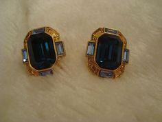 Elegant Pair of Faux Blue Sapphire and Topaz Gold Tone Earrings