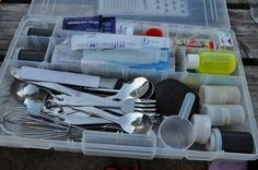 Great idea tackle box for a kitchen kit while camping - Rugged Thug First Time Camping, Camping Box, Camping Guide, Camping Essentials, Camping With Kids, Camping Meals, Family Camping, Camping Hacks, Outdoor Camping