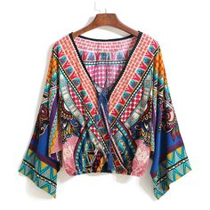 SheIn(sheinside) Multicolor V Neck Tribal Print Crop Blouse (€12) ❤ liked on Polyvore featuring tops, blouses, sheinside, blusas, multi, bohemian blouses, bohemian tops, long sleeve blouse, print blouse and crop top