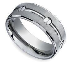 Screw Design Men's Wedding Ring in Titanium