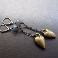 heart earrings - sterling silver, brass & labradorite