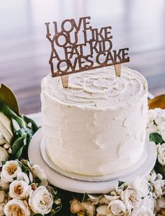 Simple white cake with a fun cake topper
