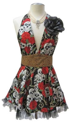New! Retro Marilyn Cha Cha Apron with flower clip- Skull & Roses print from D-Lux 57. Made in America. $48