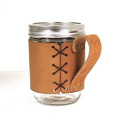 Gorgeous handmade leather mason jar handle cuffs that are hand stitched and burned. Leather is a great insulator making this perfect for traveling with hot coffee.  This plus 12 MORE Amazing Mason Jar Accessories (and smart ways to use them). #masonjar #ad #ebay