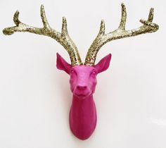 Deer Head, Glittered Antlers, Faux Deer Head, Wall Mounted Stag, Pink Deer, Nursery Decor on Etsy, $85.00