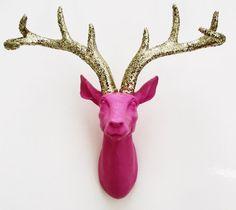 Deer Head, Glittered Antlers, Faux Deer Head, Wall Mounted Stag, Pink  Deer, Nursery Decor on Etsy, $85.00
