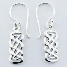 Silver earrings hook drop 925 sterling silver celtic dangle 33mm height  new PSA