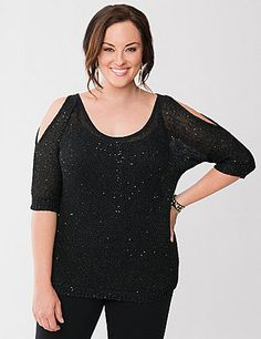 Open stitch sweater is a shimmering way to outfit the season with subtle sequins for a Lane Collection twist! This sexy pullover goes beyond basic, flaunting what you've got with alluring cold shoulders, scoop neckline and keyhole back. Designed for fashion-forward layering over your favorite cami, this versatile piece takes you from work to weekend with effortless appeal.