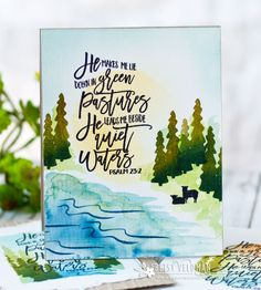 Quiet Waters Scene Card by Betsy Veldman for Papertrey Ink (June 2017)
