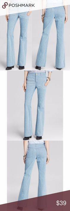 """Free People  Jeans 244325 Free People Womens Trouser Jeans - Railroad Stripe - Size 26       100% Cotton  Great preowned condition with minor signs of washing and wear..    MEASUREMENTS Waist:  14"""" flat across Rise:  8.5"""" Inseam: 32""""  All items I sell are 100% authentic! Buy with Confidence. Free People Jeans Flare & Wide Leg"""