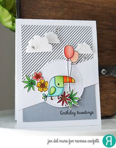 Card by Jen del Muro. Reverse Confetti stamp set: Toucan of Friendship and Monkey Business (balloons). Confetti Cuts: Toucan of Friendship, Circle Band, and Weather It Together. Birthday card.