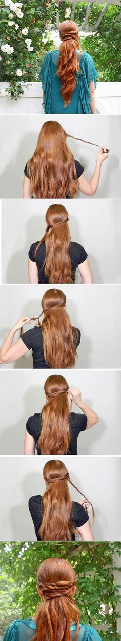 Wrapped half updo (with tutorial) - easy, twisted, simple, wrapped, ponytail, half updo hairstyle
