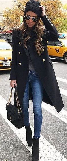 #winter #fashion /  Black Beanie / Black Coat / Skinny Jeans / Black Suede Booties