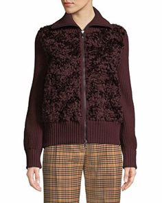 38ab2a1fed3b Proenza Schouler Designer Button-Front Long-Sleeve Ribbed Peplum Cardigan