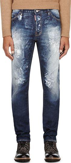 Dsquared2 - Blue Razor Cut & Painted Cool Guy Biker Jeans | SSENSE