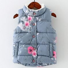 Winter Girls Vest Thick Cotton Floral Vest For Girls High Quality Baby Girls Waistcoat For Kids Outerwear Children Clothing - Kid Shop Global - Kids & Baby Shop Online - baby & kids clothing, toys for baby & kid Toddler Vest, Kids Vest, Kids Outfits Girls, Toddler Girl Outfits, Toddler Girls, Kids Girls, Infant Girls, Infant Toddler, Western Outfits