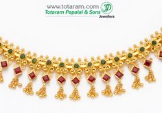 22 Karat Gold Ruby & emerald Necklace & Drop Earrings: Totaram Jewelers: Buy Indian Gold jewelry & 18K Diamond jewelry