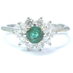 Pre-owned Tiffany & Co Platinum Gem Green Emerald Multi Shape Diamond... (530195 RSD) ❤ liked on Polyvore featuring jewelry, rings, green diamond ring, green ring, emerald green jewelry, diamond rings and diamond jewelry