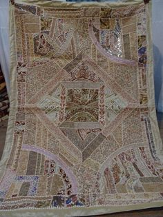 Vintage Tapestry Antique Indian Handmade Embroidered Patchwork Wall Hanging 108 #Handmade